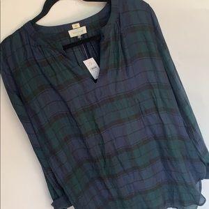 NWT Ann Taylor Loft long sleeve plaid blouse